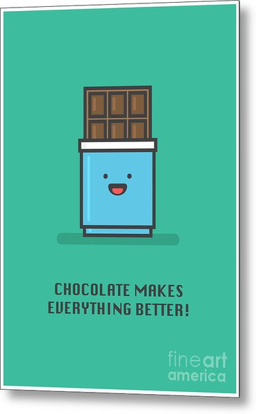 Chocolate Makes Everything Better Line Metal Print by Orange Vectors