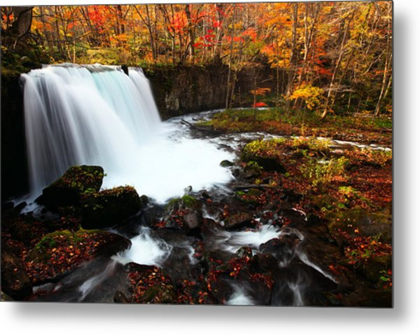 Choushi - Ootaki Waterfall In Autumn Metal Print