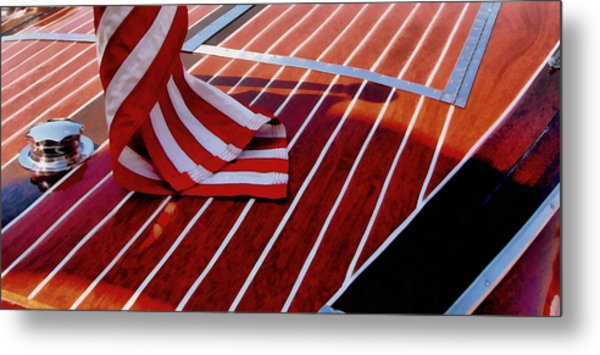 Chris Craft With American Flag Metal Print