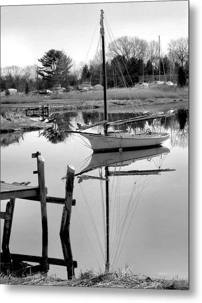 Chrissy In Black And White Metal Print