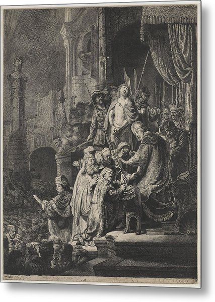 Christ Before Pilate Metal Print by Rembrandt