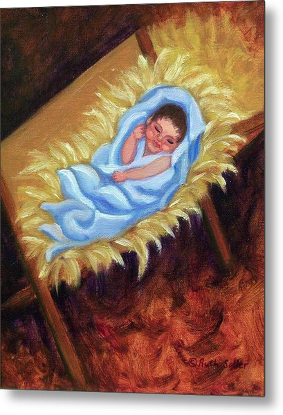 Christ Child In Manger Metal Print