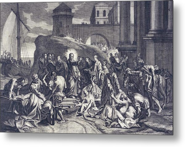 'christ Healeth A Multitude Metal Print by Mary Evans Picture Library