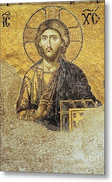 Christ Pantocrator-detail Of Deesis Mosaic Hagia Sophia-judgement Day Metal Print