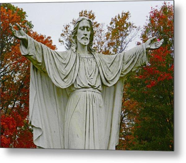 Christ Welcomes You Metal Print