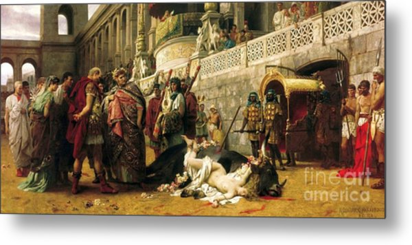 Christian Dirce In The Circus Of Nero Metal Print by Pg Reproductions