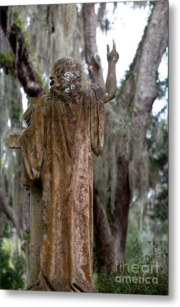 Christian Statue With Finger Pointing Toward Heaven Metal Print