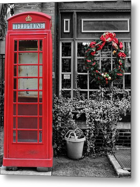 Christmas - The Red Telephone Box And Christmas Wreath IIi Metal Print