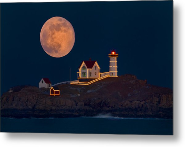 Christmas At Nubble Metal Print