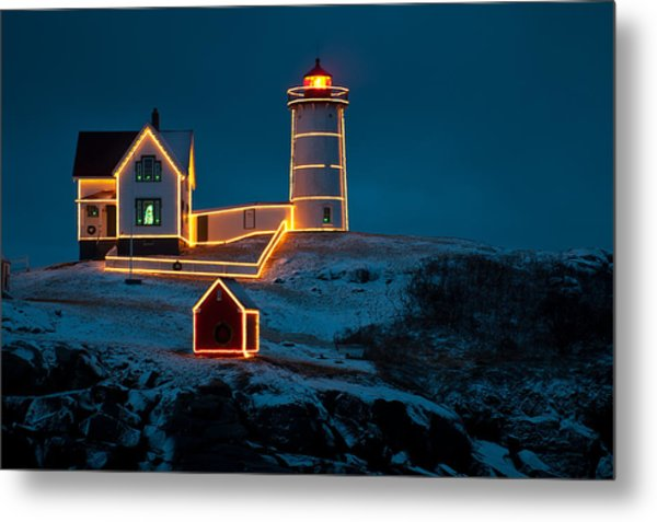 Christmas At Nubble Light Metal Print