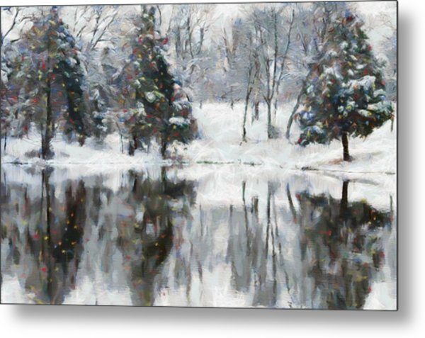 Christmas At The Pond Metal Print