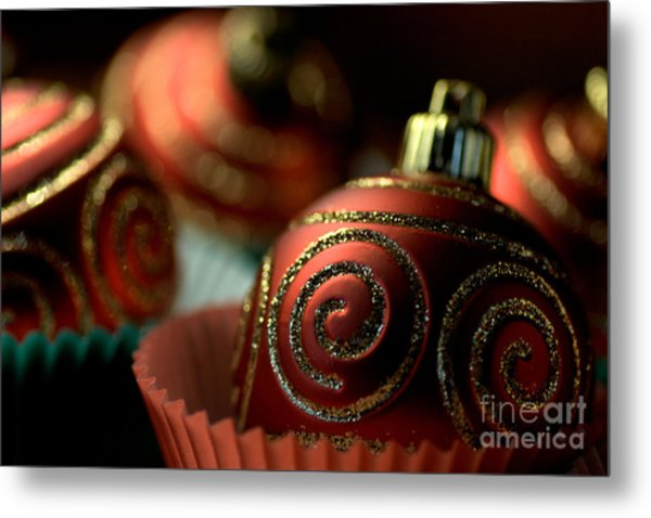 Christmas Bauble Cupcakes Metal Print