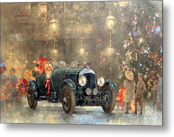 Christmas Bentley Metal Print