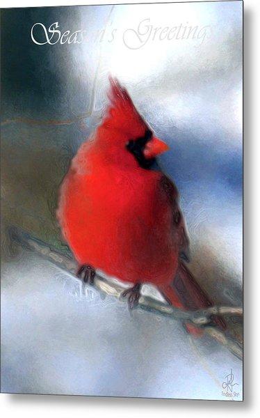 Christmas Card - Cardinal Metal Print