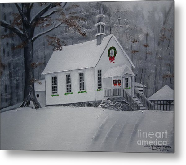 Christmas Card - Snow - Gates Chapel Metal Print