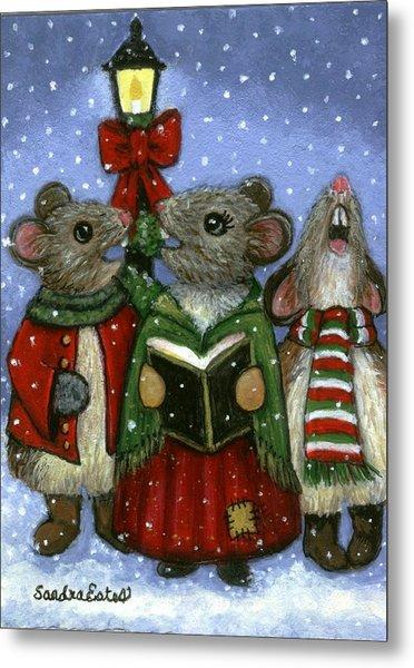Christmas Caroler Mice Metal Print