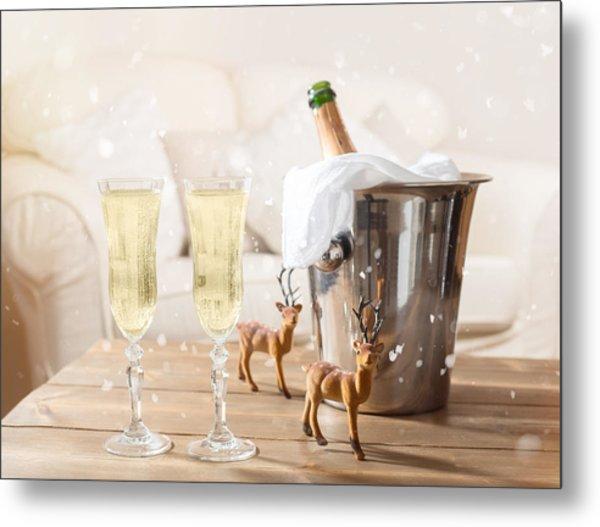 Christmas Champagne Metal Print