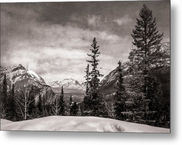 Christmas Day In Banff Bw Metal Print
