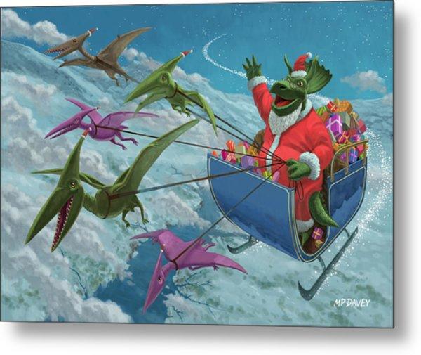 Christmas Dinosaur Santa Ride Metal Print