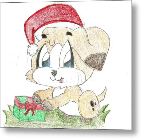Christmas Puppy Metal Print by Raquel Chaupiz
