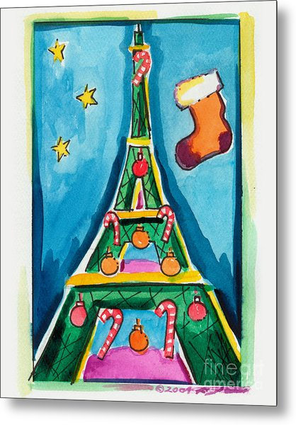 Christmas Eiffel Tower Painting Metal Print