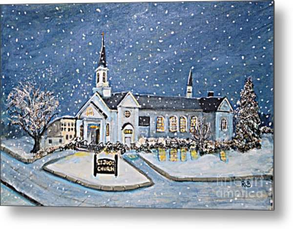 Christmas Eve At St. Jude Church Metal Print
