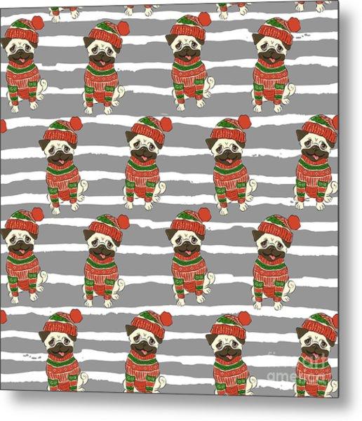 Christmas Holidays Seamless Vector Metal Print by Nikolaeva