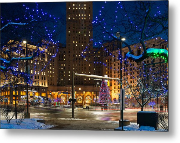 Christmas In Downtown Cleveland Metal Print