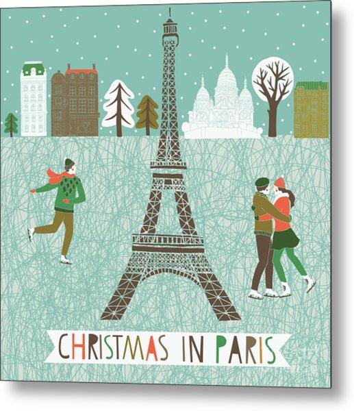 Christmas In Paris Print Design Metal Print