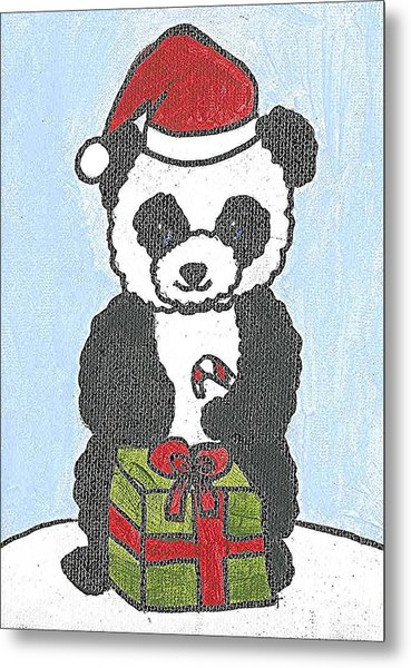 Christmas Panda Metal Print by Fred Hanna