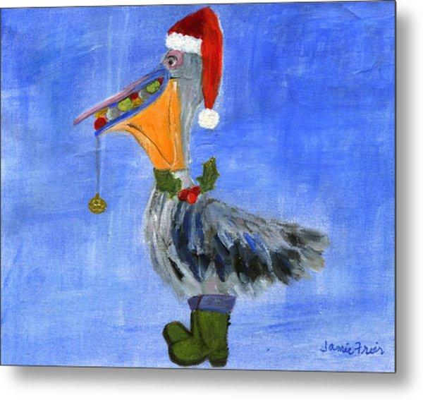 Christmas Pelican Metal Print