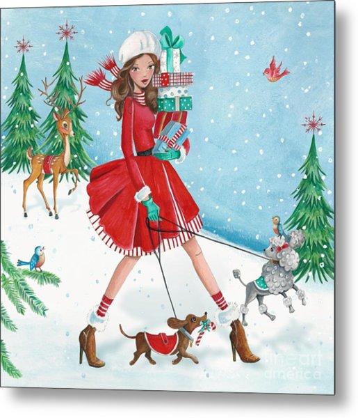 Christmas Shopping Metal Print by Caroline Bonne-Muller