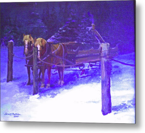 Christmas Sleigh Ride - Anticipation Metal Print