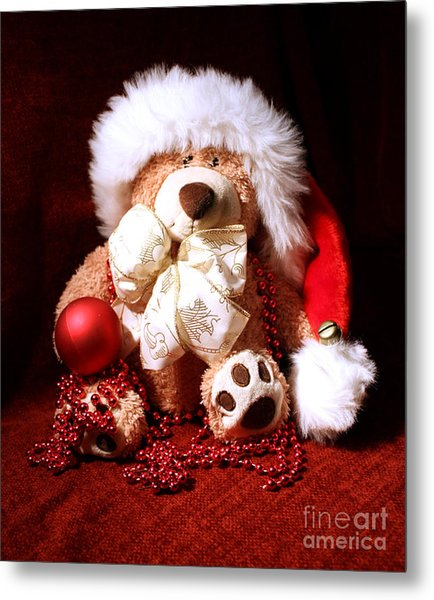 Christmas Teddy Metal Print