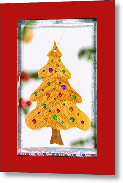 Christmas Tree Art Ornament In Red  Metal Print