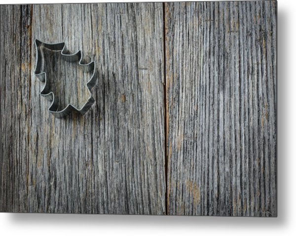 Christmas Tree Cookie Cutter On Rustic Wood Background Metal Print