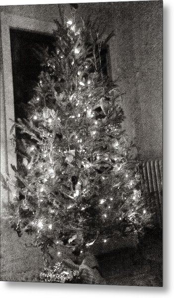 Christmas Tree Memories Monochrome Metal Print