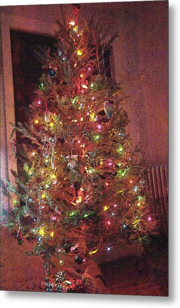 Christmas Tree Memories Red Metal Print