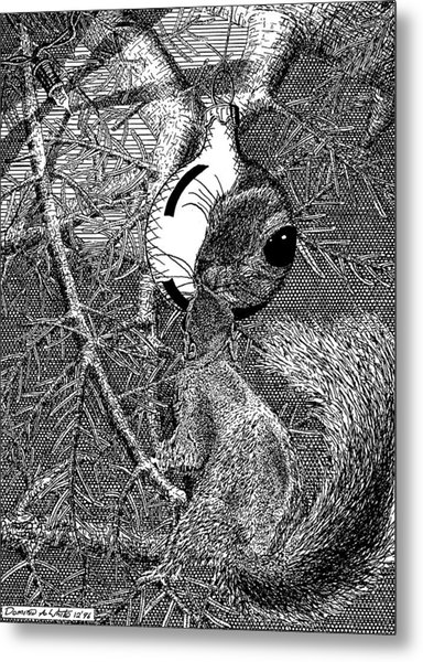 Christmas Tree Squirrel Metal Print