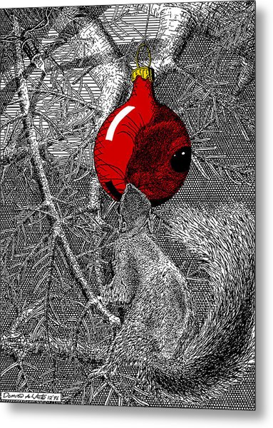 Christmas Tree Squirrel With Red Ornament Metal Print