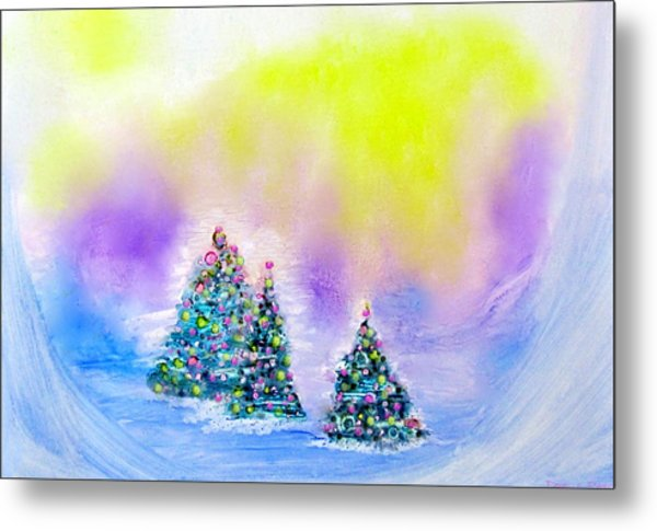 Christmas Trees In The  Valley - Alcohol Inks In Pastel Metal Print