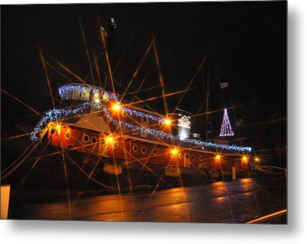 Christmas Tug Boat Metal Print