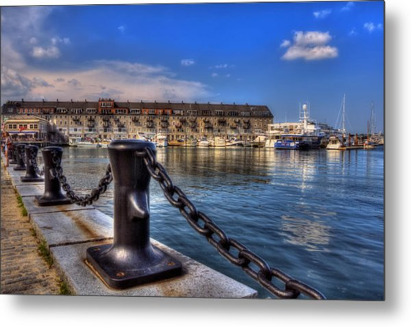 Christopher Columbus Park Waterfront Metal Print by Joann Vitali
