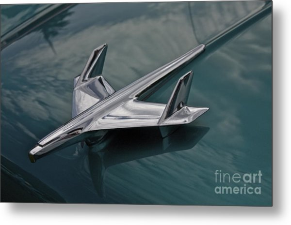 Chrome Airplane Hood Ornament Metal Print