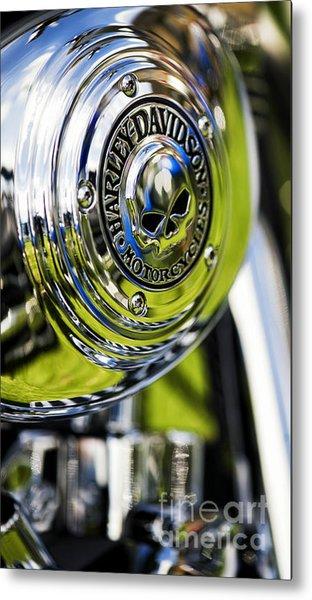 Chrome Harley Davidson Skull Casing Metal Print