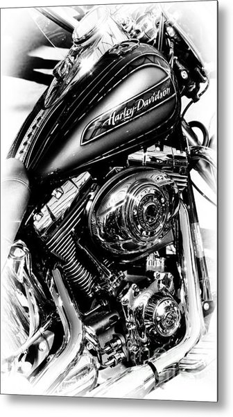 Chromed Harley Monochrome Metal Print