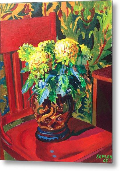 Chrysanthemums On Red Chair Metal Print