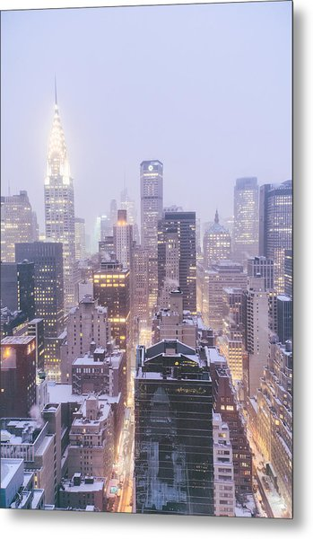 Chrysler Building And Skyscrapers Covered In Snow - New York City Metal Print