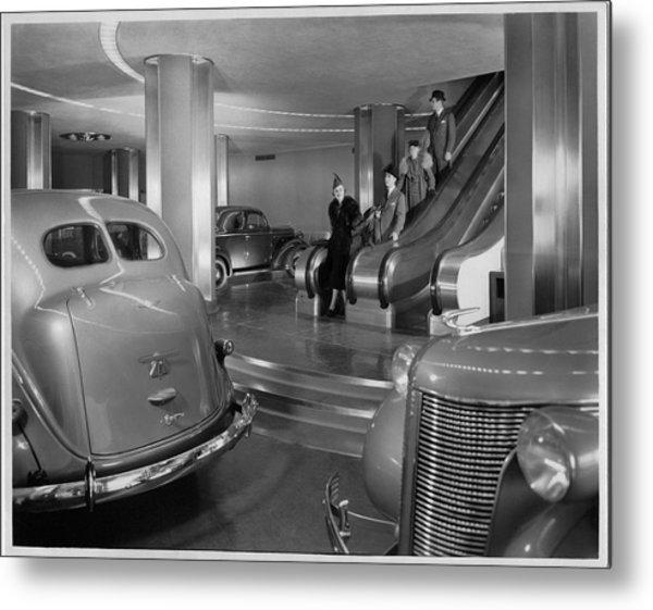 Chrysler Building Car Showroom Metal Print