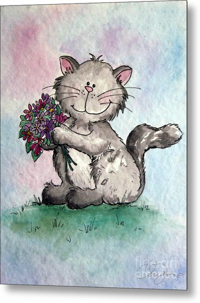 Chubby Kitty With Flowers Metal Print